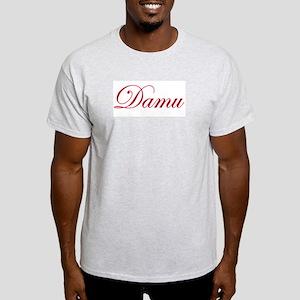 Cursive Maroon Damu Ash Grey T-Shirt