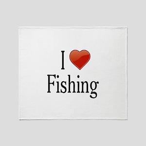 I Love Fishing Throw Blanket
