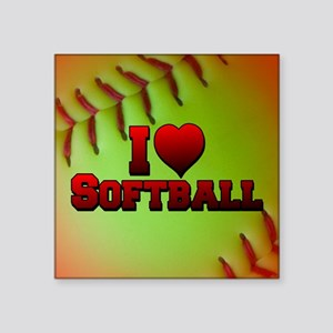 "Optic Yellow I Love Softball Square Sticker 3"" x 3"