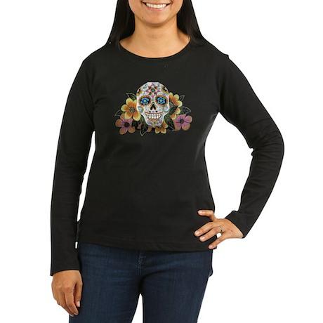 Flower Skull Women's Long Sleeve Dark T-Shirt