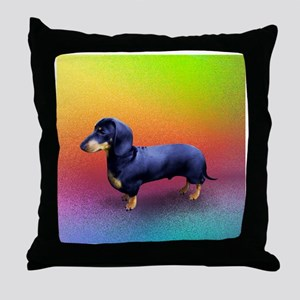 Mini Dachshund Ready to Play Throw Pillow