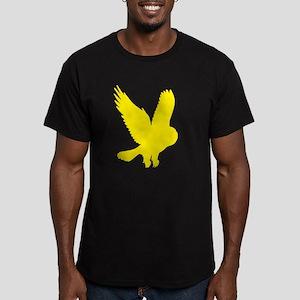 Yellow Owl in Flight Men's Fitted T-Shirt (dark)