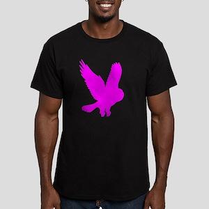 Pink Owl in Flight Men's Fitted T-Shirt (dark)