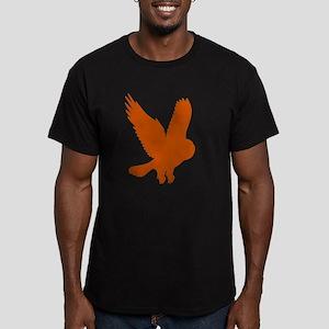 Orange Owl in Flight Men's Fitted T-Shirt (dark)