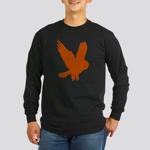 Orange Owl in Flight Long Sleeve Dark T-Shirt
