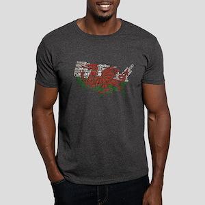 Welsh Place Names America Map Dark T-Shirt