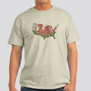 Welsh Place Names America Map Light T-Shirt