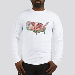 Welsh Place Names America Map Long Sleeve T-Shirt