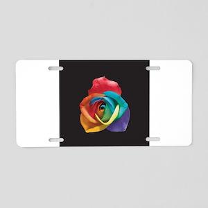 Rainbow Rose Aluminum License Plate