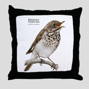 Hermit Thrush Throw Pillow