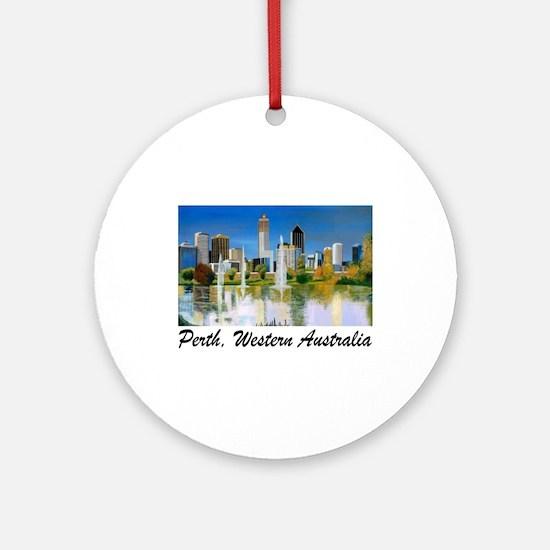 Perth Skyline Painting Ornament (Round)
