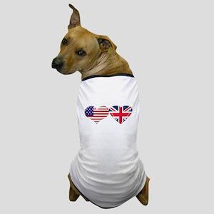 USA and UK Heart Flag Dog T-Shirt