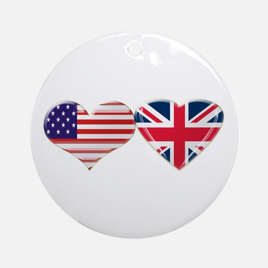 USA and UK Heart Flag Ornament (Round)