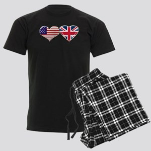 USA and UK Heart Flag Men's Dark Pajamas