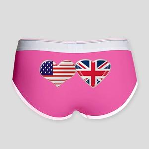 USA and UK Heart Flag Women's Boy Brief