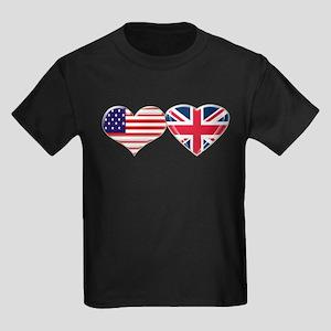 USA and UK Heart Flag Kids Dark T-Shirt