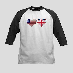 USA and UK Heart Flag Kids Baseball Jersey