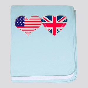 USA and UK Heart Flag baby blanket