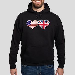USA and UK Heart Flag Hoodie (dark)