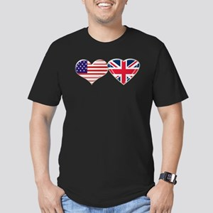 USA and UK Heart Flag Men's Fitted T-Shirt (dark)
