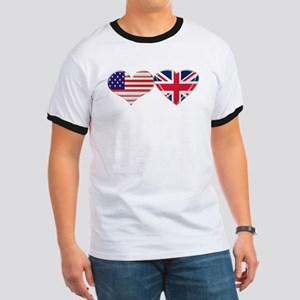 USA and UK Heart Flag Ringer T