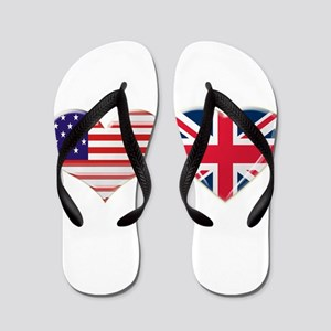 USA and UK Heart Flag Flip Flops