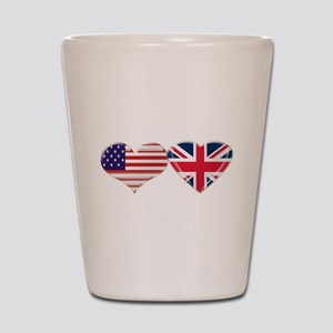 USA and UK Heart Flag Shot Glass