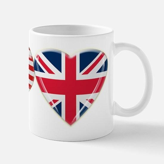 USA and UK Heart Flag Mug