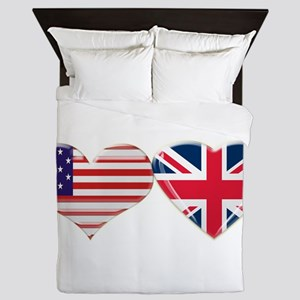 USA and UK Heart Flag Queen Duvet