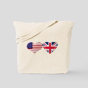 USA and UK Heart Flag Tote Bag