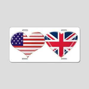 USA and UK Heart Flag Aluminum License Plate