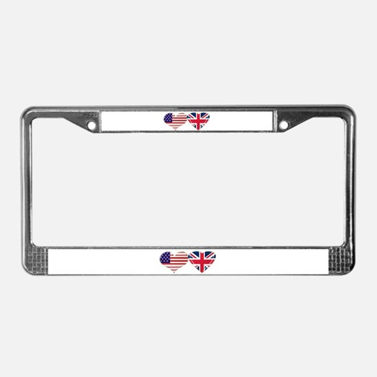 USA and UK Heart Flag License Plate Frame