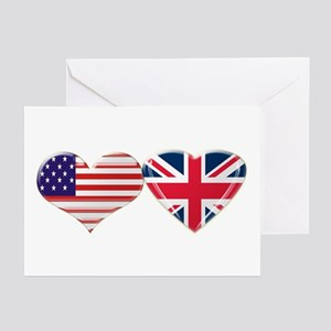 USA and UK Heart Flag Greeting Cards (Pk of 20)