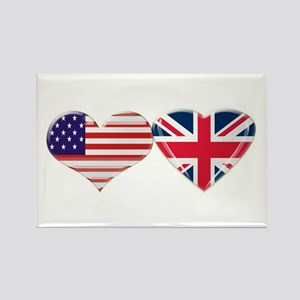 USA and UK Heart Flag Rectangle Magnet
