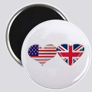 USA and UK Heart Flag Magnet