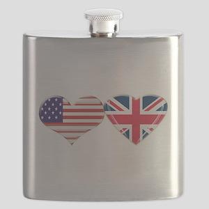 USA and UK Heart Flag Flask