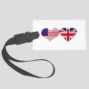 USA and UK Heart Flag Large Luggage Tag