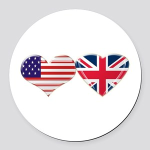USA and UK Heart Flag Round Car Magnet