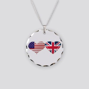 USA and UK Heart Flag Necklace Circle Charm