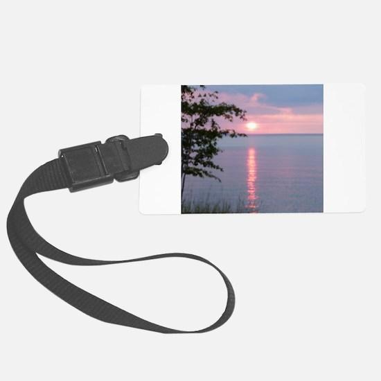 Sunset Lake Superior Luggage Tag