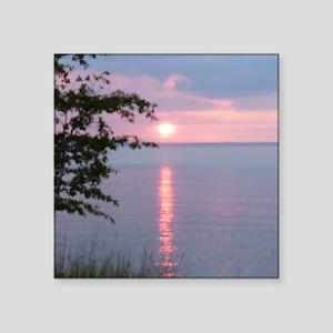 "Sunset Lake Superior Square Sticker 3"" x 3"""