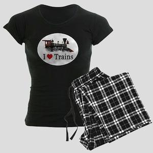 I LOVE TRAINS Women's Dark Pajamas