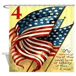 American Flag Fourth of July Shower Curtain