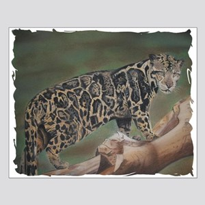 Clouded Leopard Pastel Drawing Small Poster