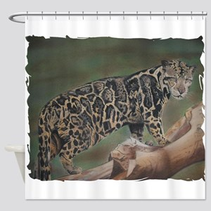 Clouded Leopard Pastel Drawing Shower Curtain