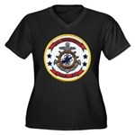 USS MISSISSIPPI Women's Plus Size V-Neck Dark T-Sh