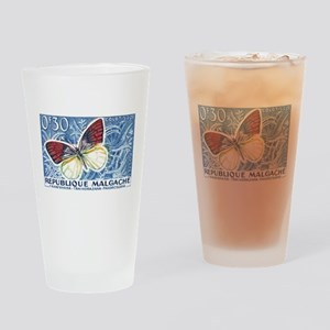 Madagascar Butterfly Stamp 1960 Drinking Glass