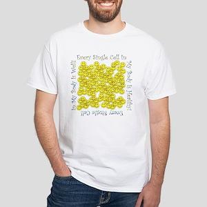 Single Hlthy Cells(Plain Back) White T-Shirt