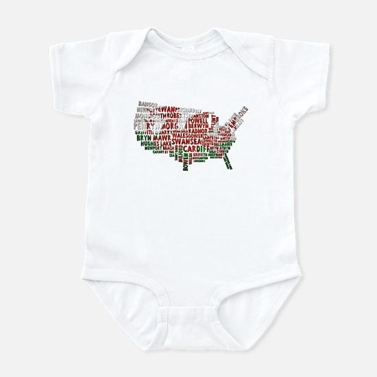 Welsh Place Names USA Map Infant Bodysuit