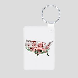 Welsh Place Names USA Map Aluminum Photo Keychain